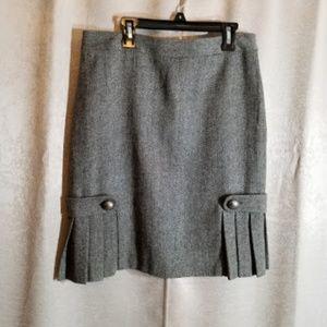Banana Republic Herringbone Pleated Skirt sz 6P